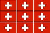 Etaia - 9X Mini Premium Aufkleber - 2,5x4 cm - Fahne/Flagge der Schweiz Suisse kleine Sticker Auto Motorrad Fahrrad Bike