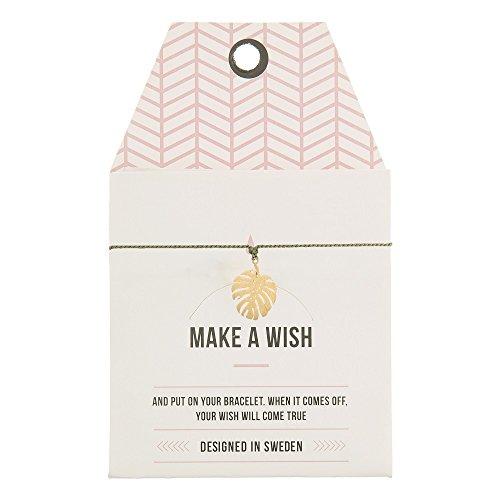 Mint TIMI of Sweden wenskaart Monstera blad armband Silk Gold Green Olive vriendschapsarmband Make a Wish