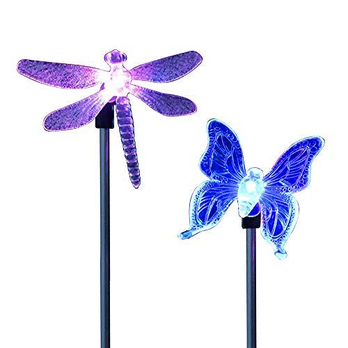 Festnight Led-tuinverlichting op zonne-energie, verschillende kleuren, vlinder, libelle tuindecoratie, figuren voor buiten, landschap, verlichting voor pad, binnenplaats, gazon, terras 2 pcs Butterfly & Dragonfly