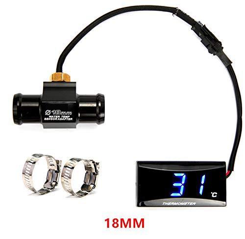 Acptxvh Moto Termometro Quad Piazza Digitale Strumento di umidità Temperatura Igrometro Sensore Tester Pyrometer Termostato,Nero,22mm