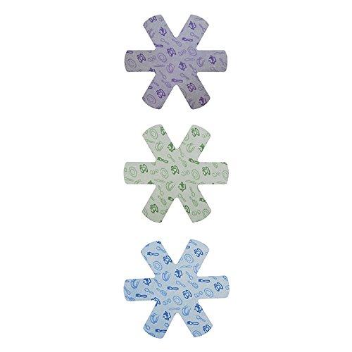 Excelsa Lot de 3 protège-poêles Polyester, Multicolore, 38 cm