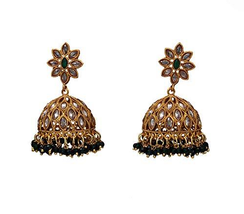 JewelryGift Pendientes Jhumki únicos bañados en oro de 18 quilates, joyería de moda Baali Kundal para niñas y mujeres, ME 177-VERDE