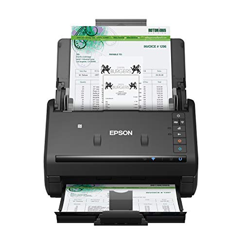Epson Workforce ES-500WR Wireless Color Receipt & Document Scanner for PC and Mac, Auto Document Feeder (ADF), Black