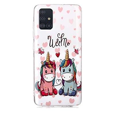 DiaryTown para Funda Samsung Galaxy A51 Cárcasa Silicona Transparente con Dibujos Iluminado Suave TPU Gel Antigolpes de Protector Case Cover para Galaxy A51, Unicornio