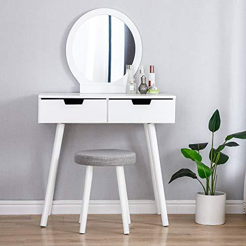 MUPAI Tavolo da Trucco, Tavolo da Trucco, con Specchio Rimovibile, Sgabello per Trucco con 2 cassetti per Camera da Letto, corridoio, libreria (Bianco, 80x40x128cm)