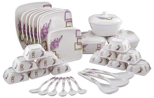 Maharaja Royal Melamine Dinner Set - 40 Pieces, White & Purple