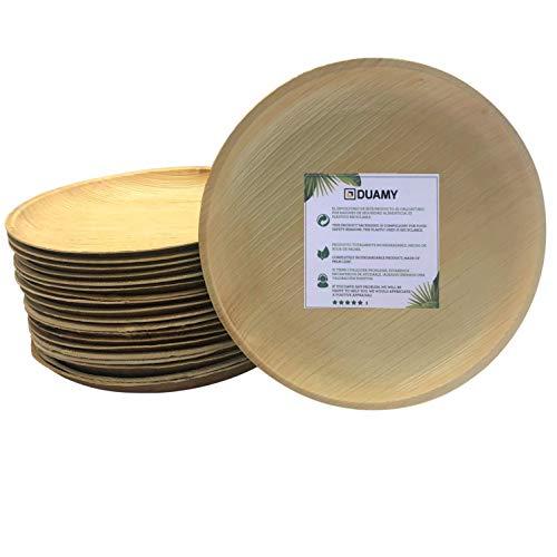 Platos redondos de hoja de palma desechables. 20 platos biodegradables Ø 19 cm. Vajilla ecológica para eventos, bodas, cumpleaños…100 % fabricados con materiales naturales, sin químicos abrasivos.