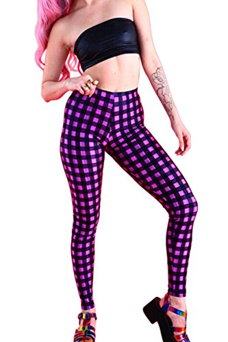 Yacun Leggins ajustados cuadros elástico de las mujeres Purple One Size