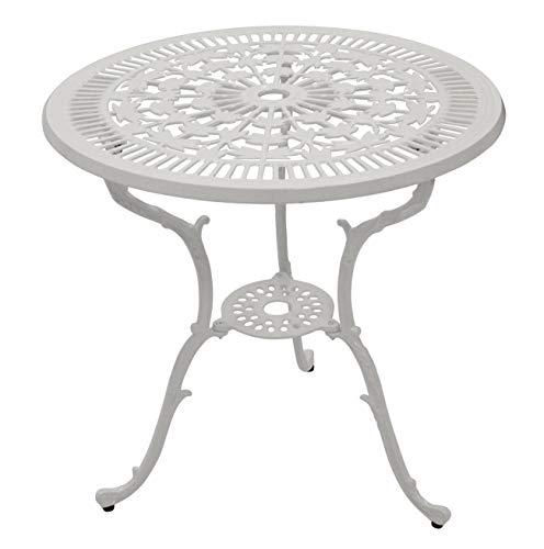 Bistrotisch Gartentisch in Jugendstil Optik aus Aluminiumguss Weiss, 70cm Durchmesser, wetterfest