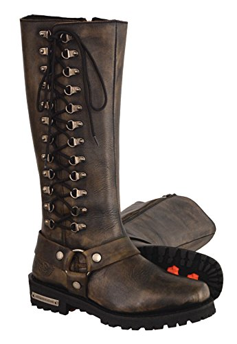 Milwaukee Leather Women's Classic Harness Leather Boots with Full Lacing