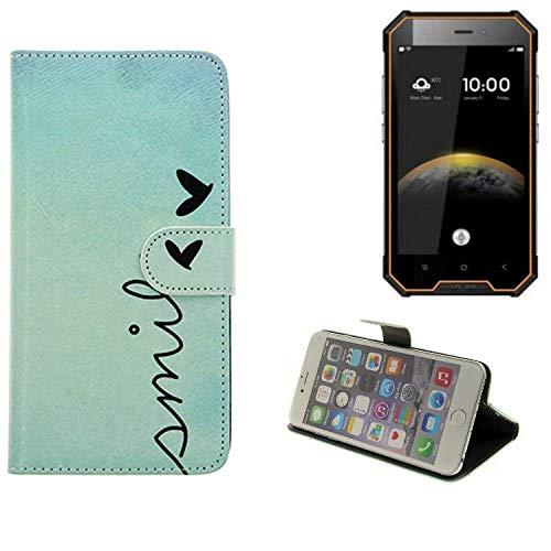 K-S-Trade® Schutzhülle Für Blackview BV4000 Pro Hülle Wallet Case Flip Cover Tasche Bookstyle Etui Handyhülle ''Smile'' Türkis Standfunktion Kameraschutz (1Stk)