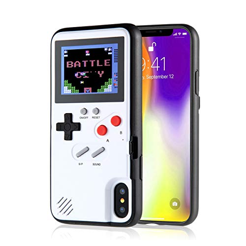 KOBWA Gameboy Case for iPhone, Retro Gameboy Design Style Silicone Cover Case with 36 Small Games, Color Screen,Gameboy Cover for iPhone Xs/X/XSmax/XR/8/8Plus/7/7Plus/6/6Plus (iPhone X/XS, White)