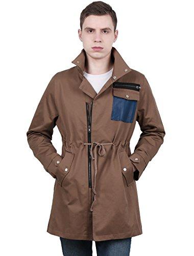 Allegra K Men Zip Closure Drawstring Waist Jacket Coffee Color L