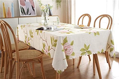 Mantel Rectangular Beige Poliéster Poliéster Impresión Pink Flower Mantel Laciness Mantel Impermeable para La Cocina Patio Patio Tabla De Fiesta Al Aire Libre (Talla : 140X200cm)