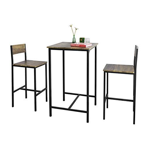 SoBuy OGT27-N 3-teilig Bartisch mit Stühlen Esstisch Stehtisch Bistrotisch mit 2 Barhocker Sitzgruppe