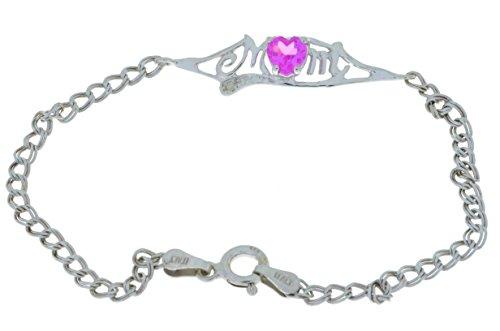 0,50ct creado rosa zafiro y diamante pulsera mamá de corazón plata de ley 925rodio acabado