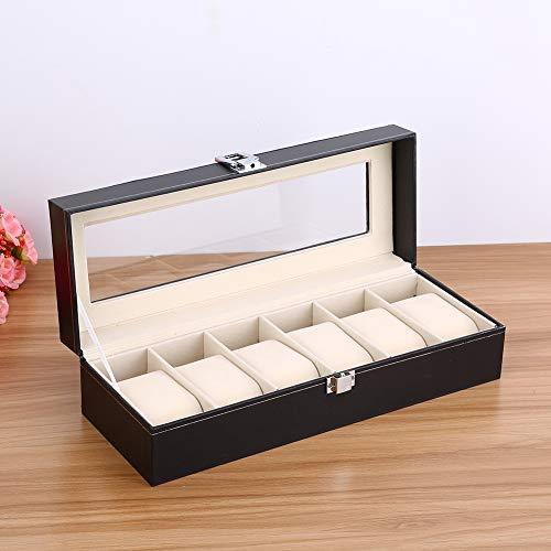 Greensen Uhrenbox mit 6 Fächern Uhrenkasten Leder Uhrenschatulle mit Glasdeckel Uhrenkoffer Elegante Aufbewahrung Uhrenschachtel aus Samt-Innenfutter für Aufbewahrung und Display, Schwarz