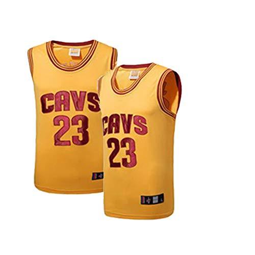 Camiseta de Baloncesto para Hombre James # 23 Cavs, Camiseta de Baloncesto de Malla Bordada sin Mangas Neutra, Uniforme de Baloncesto Bordado clásico (S-3XL)-yellow-3XL