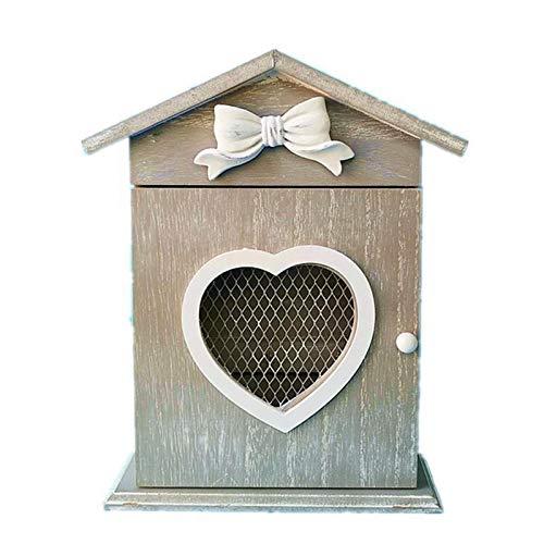 Montado en forma de corazón con forma de corazón Caja de almacenamiento de madera Caja de almacenamiento de claves de gancho Estante colgante Estante de suspensión Pórche en casa Cocina Muro Organizad
