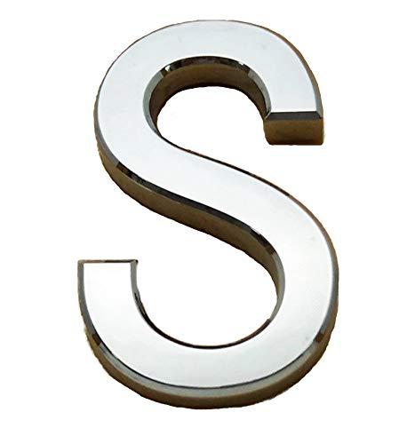 A S Brand Selbstklebender Chrombuchstabe für Türen, Autos, für Zuhause, 3D-gebogen, Silber, 7 cm