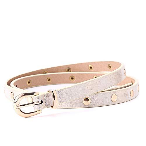 PmseK Gürtel Damen Herren, Lady Pu Narrow Belts 1.3 Cm Width Women Metal Waist Belt Fashion Rivet Lady Belt Gold And Nickel Buckle Looper Two Color Metallic Golden 110cm 36to39 Inch