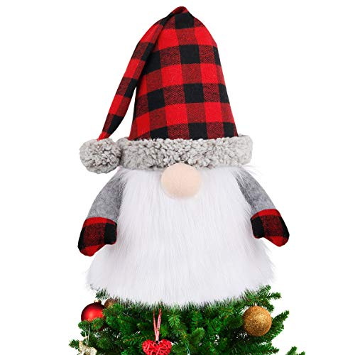 D-FantiX Gnome Christmas Tree Topper, 27.5 Inch Large Swedish Tomte Gnome Christmas Ornaments Santa Gnomes Plush Scandinavian Christmas Decorations Holiday Home Décor with Plaid Hat