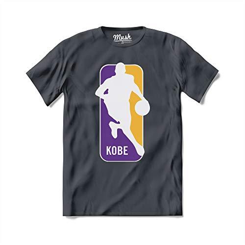 MUSH T-Shirt Kobe NBA Logo - Basket - 100% Cotone Organico, Large Uomo, Antracite