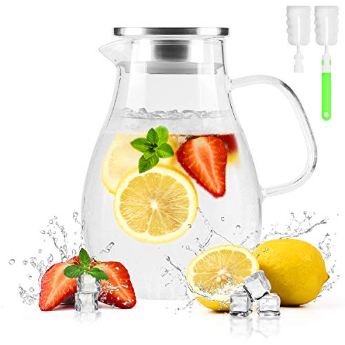 BONNACC Glas Karaffe Krug (2L/68oz), Wasserkaraffe Getränkekanne mit 304 Edelstahldeckel, Auslauf, Filter und Bürste für kaltes heißes Wasser Getränke Eistee hausgemachte Getränke Milch Kaffee Wein