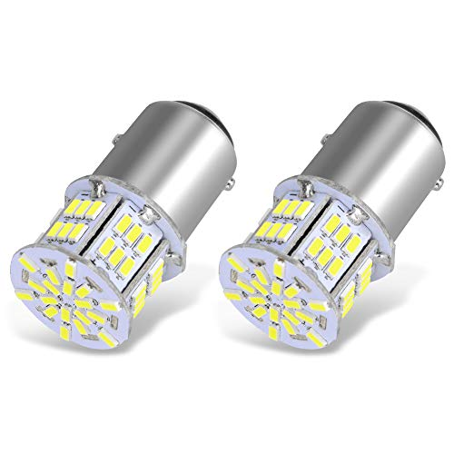YITAMOTOR 1157 LED Bulb White, 54SMD 650 Lumens, BAY15D 7528 2357 2057 LED Replacement Light Bulbs for Brake Tail Running Parking Backup Light for Car RV Motorcycle Boat, 12v-24v, 2-Pack