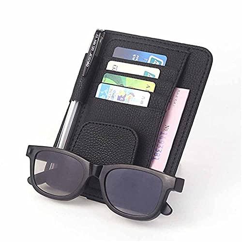 Coche Sun Visor multifunción PU tarjeta titular gafas almacenamiento pluma organizador coche colgante bolsa auto accesorios bolsillo negro