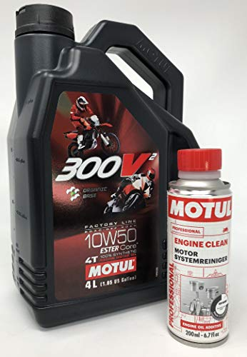 Aceite de Motor Competicion - Motul 300V2 4T FL Road Racing 10W50, Pack 4 litros Engine Clean Limpia Motores
