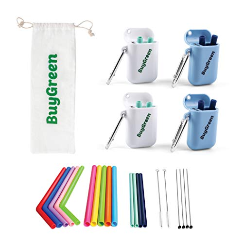 CLEARING OUT 14 Reusable Silicone Straws - Colorful Rainbow Family Pack with 4 Portable Travel Cases, 6 Cleaning Brushes-BPA Free-Long Flexible Foldable Eco - Friendly Drinking Straw