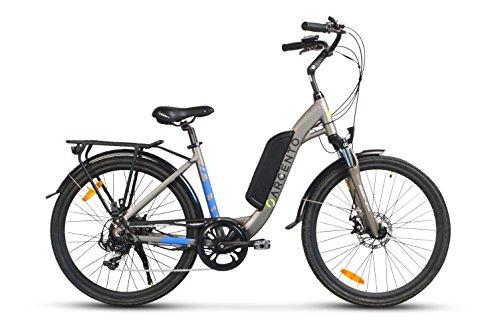 Argento Omega, Bicicletta Elettrica City Bike, Ruote Kenda 26'', Unisex, Argento, Telaio 44 cm
