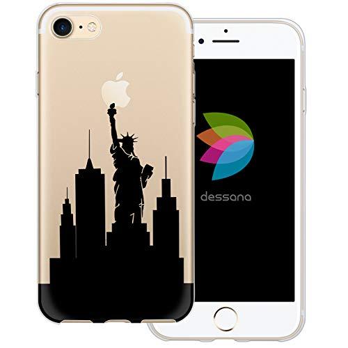 dessana New York City Lifestyle - Custodia protettiva in silicone TPU ultra sottile 0,7 mm, TPU. silicone, Skyline New York, Apple iPhone 7