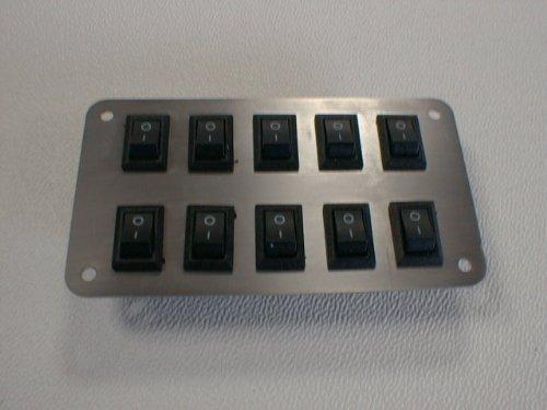 Schalterpanel 10x Ein-Aus Schalter Edelstahlblende matt klein