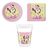 Disney Bebé Minnie Mouse Vajilla de fiesta - Kit De Fiesta Vaso Plato Servilleta