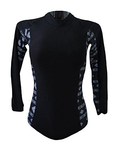 Legou Femme Vêtement Collant Manche Longue vêtement de plongée Yoga Course Noir Large