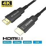 YIWENTEC Cable de Fibra óptica HDMI Activo (4Kx2K @ 60Hz, Ultra HD de Alta Velocidad 18Gbps, Compatible con HDMI 2.0 HDCP2.2 Cable óptico HDMI Delgado y Flexible (10M, 4K)