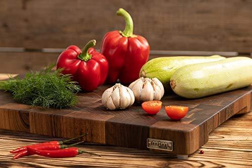 MTM WOOD Tablas de Cortar Cocina de Madera Nogal Marrón Oscuro, Tablas de Picar de Tamaño Diferente y de Espesor 3 y 4 cm, Ideal para Cortar Carne Verdura Pescado Pan (40 x 30 x 4 cm)
