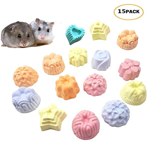 Hamster Chew Toy Lava Teeth Grinding Square Stone for Hamsters Chinchillas and Rabbits Mineral Stone Calcium Chew Toy for Small Animal (15 pcs(Flower Shape))