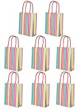 Talking Tables Pack of 8 : Height 19cm Rainbow Paper Party Treat Handles Fill with Birthday Cake or Use as a Gift Bag, Multi Stripe