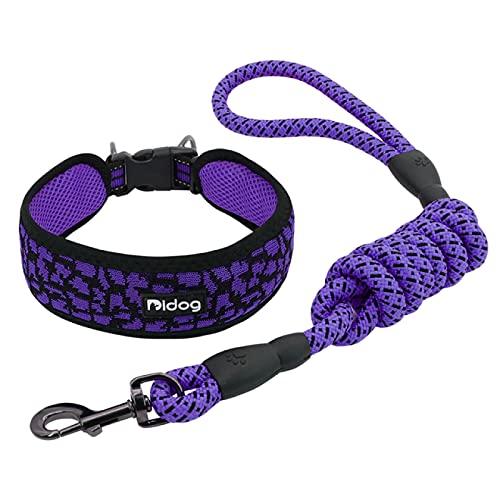 Aiong Collar del Animal doméstico, Correa del Perro del Perrito del Animal doméstico del Entrenamiento para Caminar del arnés del Collar del Perro de la Malla de Nylon Respirable