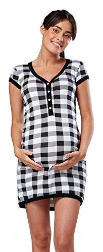 HAPPY MAMA. Damen Umstands-Nachthemd mit Stillfunktion. Stillshirt Kurzarm. 981p (Kariert, 40-42, XL)