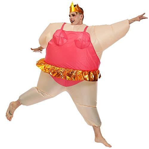 Doublehero aufblasbares Kostüm Riesen fetten Mann aufblasbare lustige Ballerina Kostüm, Halloween, Karneval Cosplay explodieren Riesen Kostüm-Erwachsene Größe (gelb+rot)