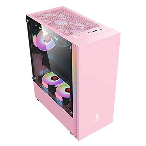 ZXFF Caja De Juegos Rosada, Mid-Tower ATX/M-ATX/Mini-ITX-PC Game Console, Panel Lateral De Vidrio Templado Completo, USB3.0 / USB 2.0, Adecuado para PC De Escritorio
