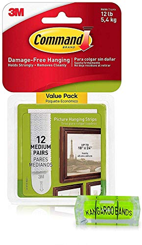 Command Picture Hanging Kit  3m Damage-Free Strips & Level  12-Pair Perfect for Hanging Small & Medium Frames, Pictures on Walls/Drywalls & More  No Nail Damage  Bundled with KangarooBand Bubble Level