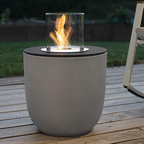 muenkel design Vigo – Bio-Ethanol Feuerstelle Gartenfackel Terrassenfeuer mit Round Burner 250 Brennkammer – Korpus Beton-grau