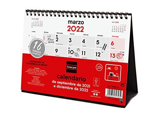 Finocam Calendario de Sobremesa Neutro 16 meses 2021 2022 Mes vista Septiembre 2021, Diciembre 2022 16 meses 210x150 Español