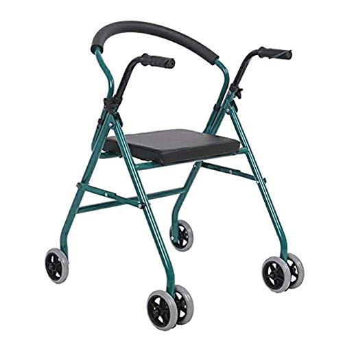 Andador Ancianos Ayuda a La Movilidad for Desventaja Plegable Silla de Baño con Asiento Acolchado y 2 Ruedas Delanteras Andadores Ligero y Conveniente ALGFree (Color : Green)