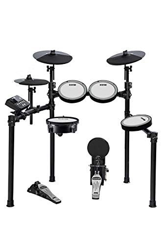 HXW SD61-5 Electric Drum Set 8 Piece Electronic Drum Kit With Mesh Heads, Dual-zone Snare Cymbal Pads with Choke, Support USB-MIDI